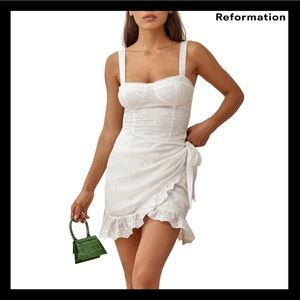 NEW REFORMATION WHITE EMBROIDERED MINI DRESS